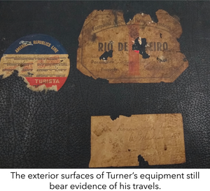 The exterior surfaces of Turner's equipment still bear evidence of his travels.