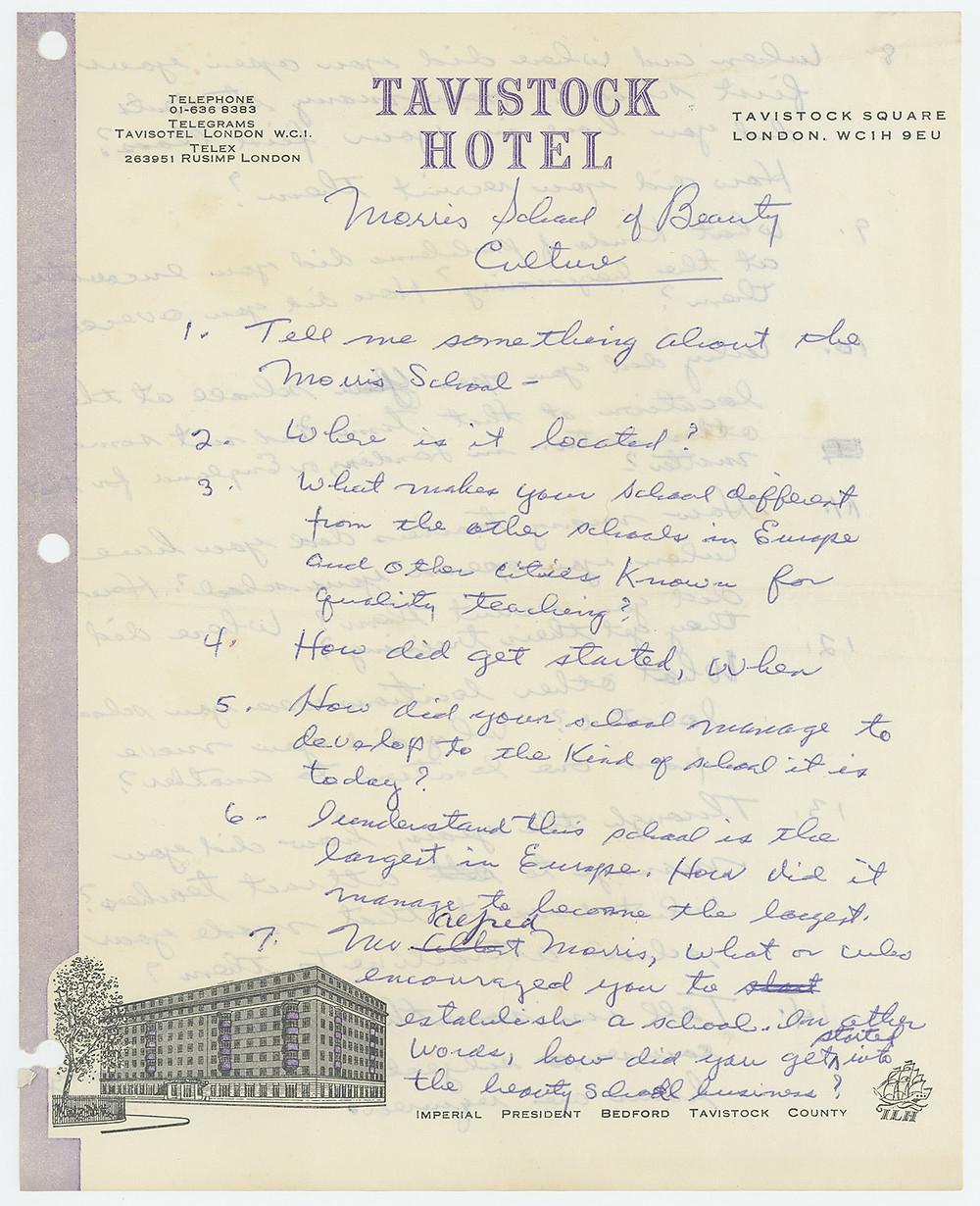 Arnold de Mille's interview notes taken on Tavistock Hotel stationery, 1974.