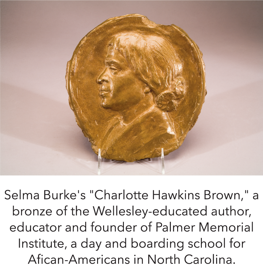 "Selma Burke's ""Charlotte Hawkins Brown,"" a bronze of the Wellesley-educated author, educator and founder of Palmer Memorial Institute, a day and boarding school for Afican-Americans in North Carolina."