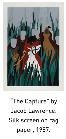 """""""The Capture"""" by Jacob Lawrence.  Silk screen on rag paper, 1987."""