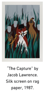 """The Capture"" by Jacob Lawrence.  Silk screen on rag paper, 1987."