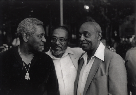 Photograph of Dizzy Gillespie, Hale Smith and Benny Carter at the Greenwich Village Jazz Festival