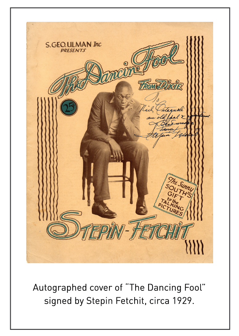 "Autographed cover of ""The Dancing Fool"" signed by Stepin Fetchit, circa 1929."
