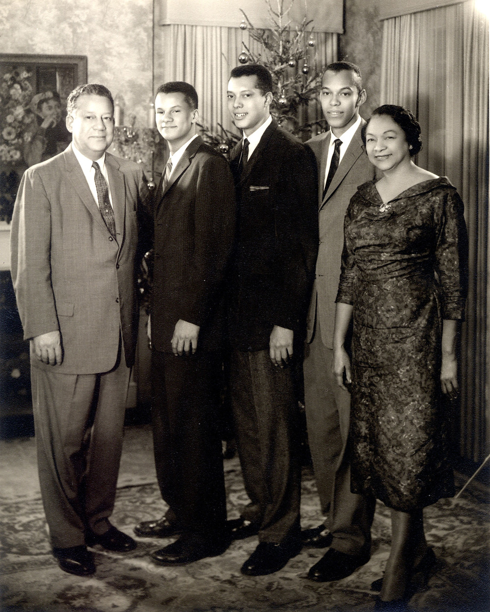 Dent Family: L-R Albert W., Walter, Tom, Ben and Jessie Covington Dent, ca 1955