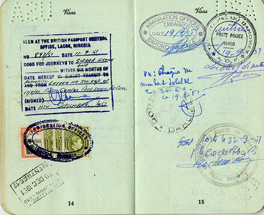 A page of Lorenzo Dow Turner's passport, showing his travels to Nigeria, Dahomey (now Benin), and France.