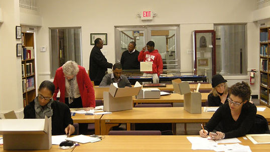 Patrons researching Amistad's archives