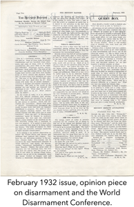February 1932 issue, opinion piece on disarmament and the World Disarmament Conference.