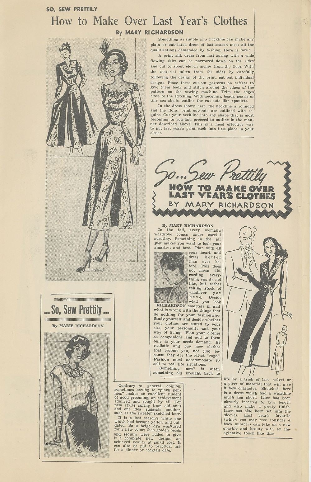 """Mary Richardson's fashion column, """"So, Sew Prettily,"""" from the Louisville Defender"""