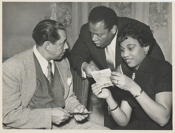 """Photograph: William Warfield, Leontyne Price, and Cab Calloway during a break from the rehearsal of """"Porgy and Bess,"""" 1952"""