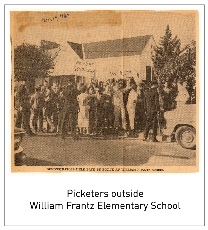 Picketers outside William Frantz Elementary School