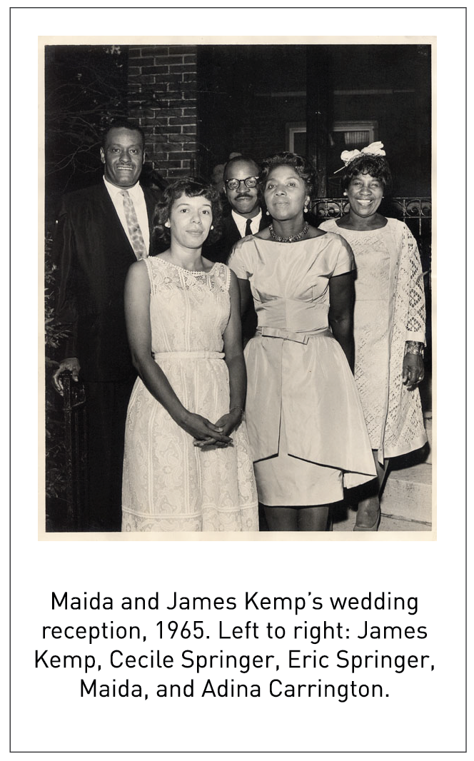 Maida and James Kemp's wedding reception, 1965. Left to right: James Kemp, Cecile Springer, Eric Springer, Maida, and Adina Carrington.