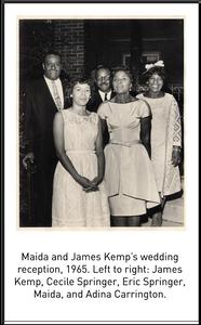 Maida and James Kemp's wedding reception, 1965. Left to right: James Kemp, Cecile Springer, Eric Springer, Maida, and Adina Carrington.