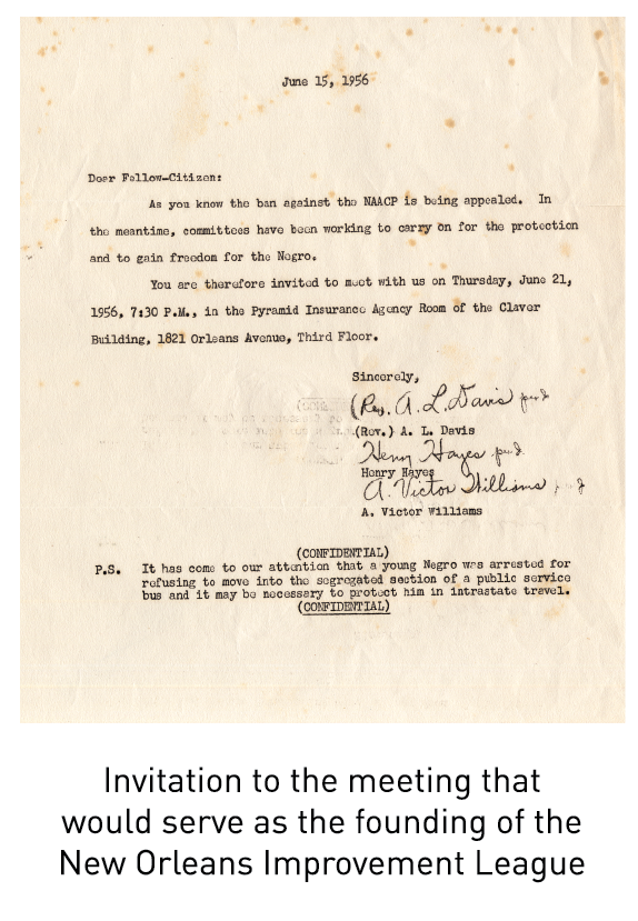 Invitation to the meeting that would serve as the founding of the New Orleans Improvement League