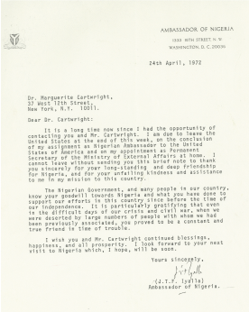 Letter from Nigerian ambassador J.T.F. Iyalla thanking Cartwright for her goodwill