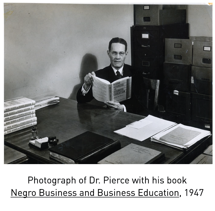 Photograph of Dr. Pierce with his book  Negro Business and Business Education, 1947