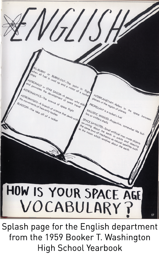 Splash page for the English department from the 1959 Booker T. Washington High School Yearbook