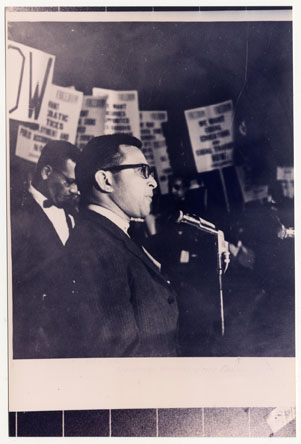 Ernest Morial speaking at the 1963 Civil Rights March on New Orleans City Hall.
