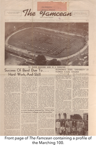 Front page of The Famcean containing a profile of the Marching 100.
