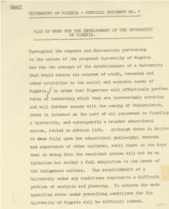 Excerpt from the University of Nigeria plan of work from the Provisional Council