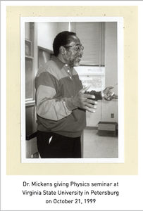 Dr. Mickens giving Physics seminar at Virginia State University in Petersburg on October 21, 1999