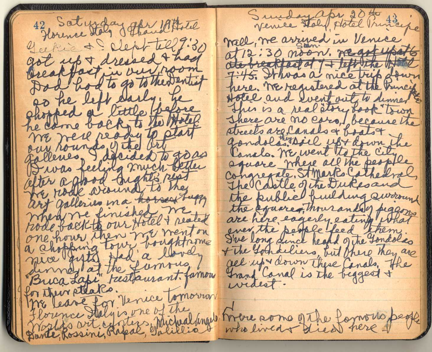 Irene Dobb's travel diary while in Venice, Italy, April 1952.