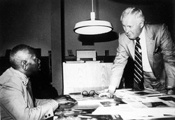 Jacob Lawrence (left) with Clifton Johnson, Executive Director of the Amistad Research Center