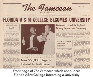 Front page of The Famcean which announces Florida A&M College becoming a University
