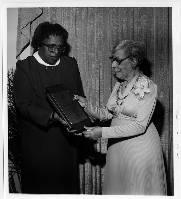 Lucile Hutton receiving plaque from New Orleans Chapter Friends of Amistad, May 1982.