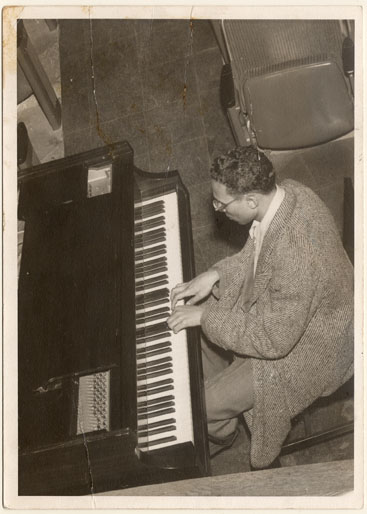 Hale Smith at piano at Karamu House, circa 1949-1951.