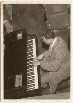 Hale Smith at piano at Karamu House, circa 1949-1951.