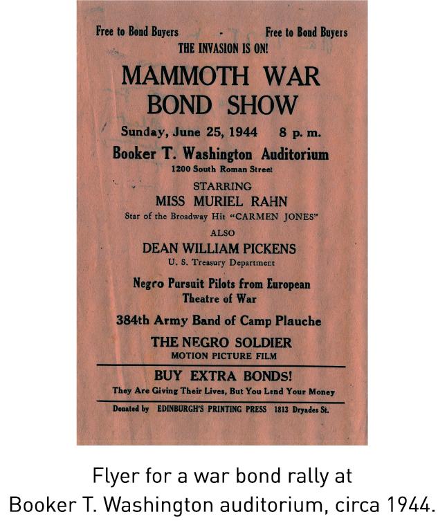 Flyer for a war bond rally at Booker T. Washington auditorium, circa 1944.