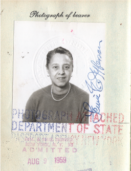Passport of artist Louise Jefferson.