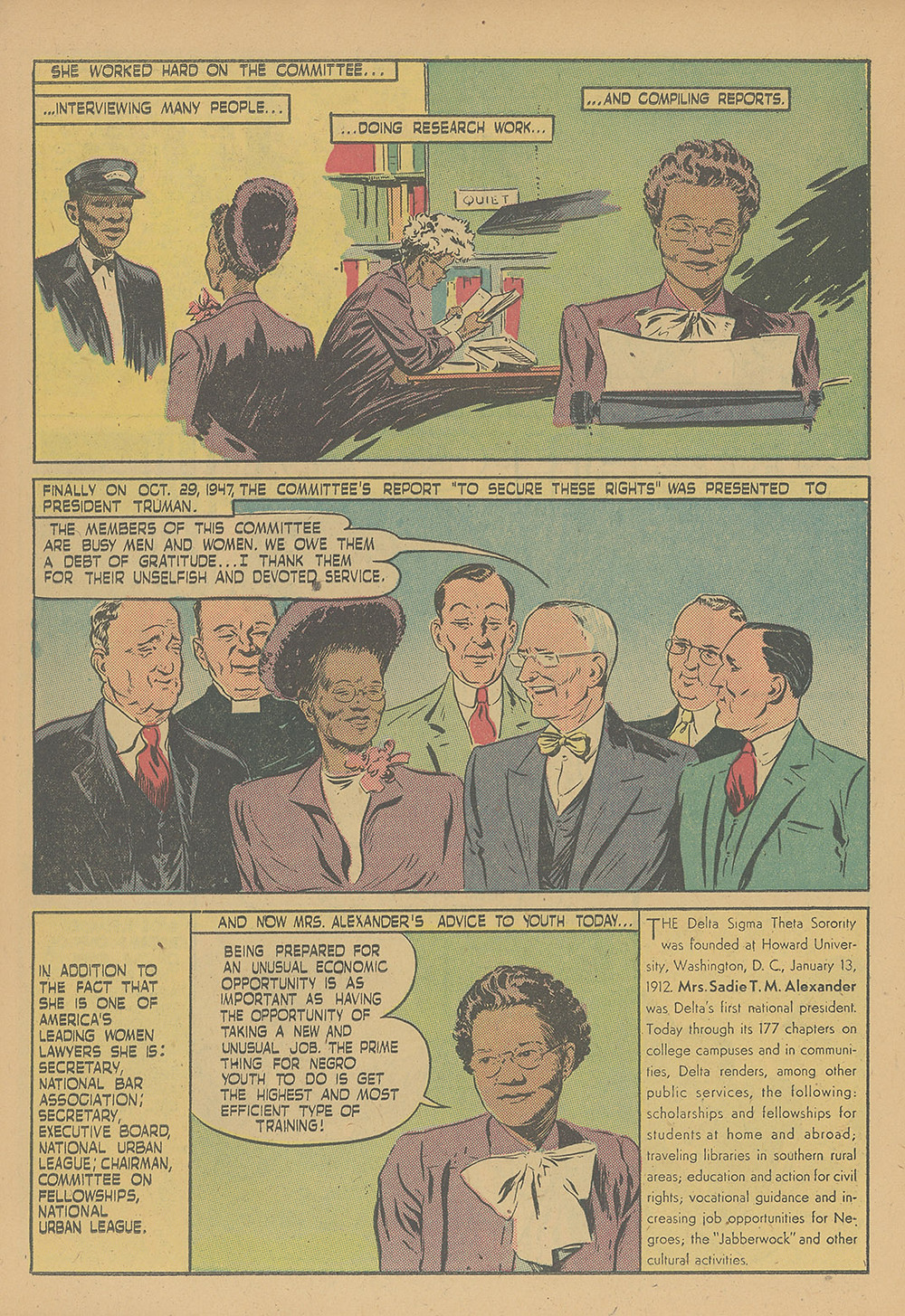Sadie T.M. Alexander from the comic book 'Negro Heroes'