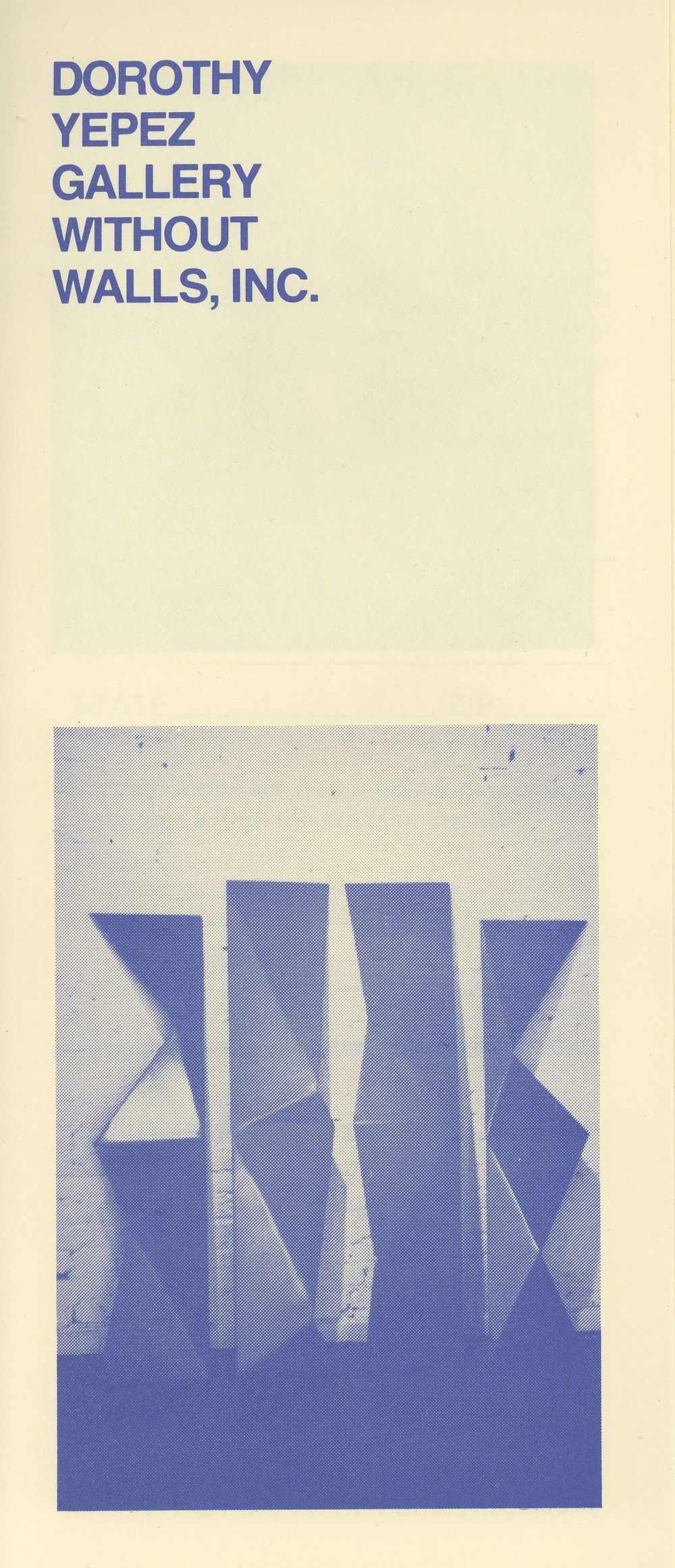 Brochure of Dorothy Yepez Gallery Without Walls, Inc., undated