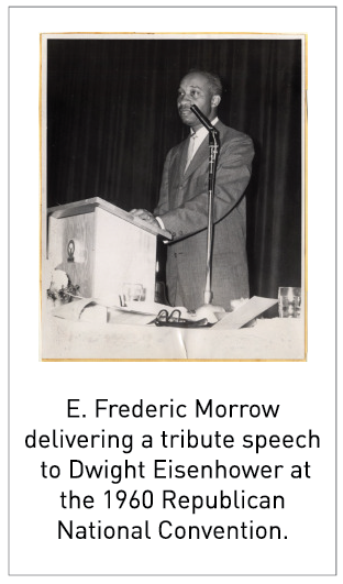 E. Frederic Morrow delivering a tribute speech to Dwight Eisenhower at the 1960 Republican National Convention.