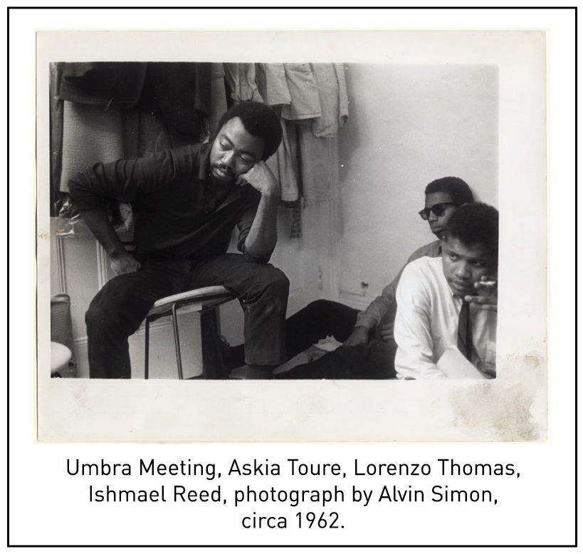 Umbra Meeting, Askia Toure, Lorenzo Thomas, Ishmael Reed, photograph by Alvin Simon, circa 1962.