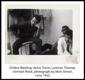 Umbra Meeting, Askia Toure, Lorenzo Thomas, Ishmael Reed, photograph by Alvin Simon, circa 1962.