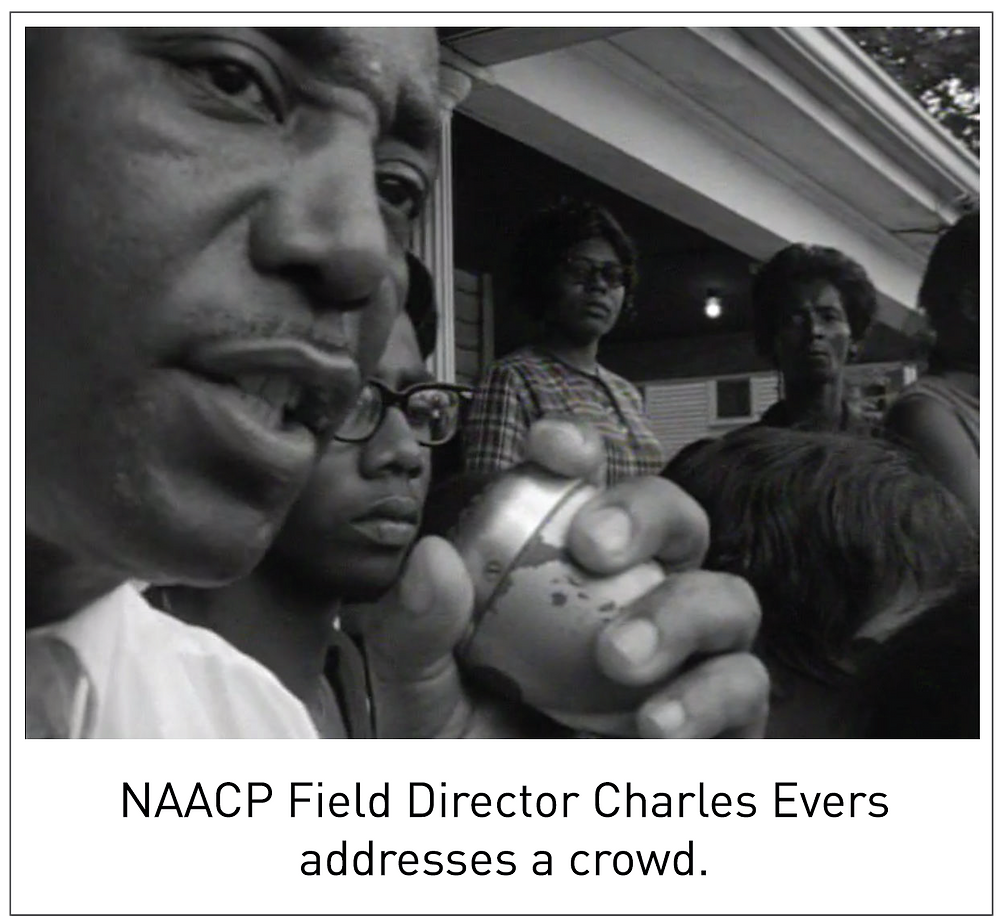 NAACP Field Director Charles Evers addresses a crowd.