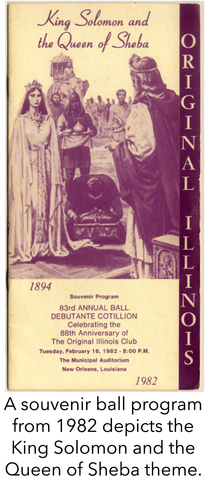 A souvenir ball program from 1982 depicts the King Solomon and the Queen of Sheba theme.