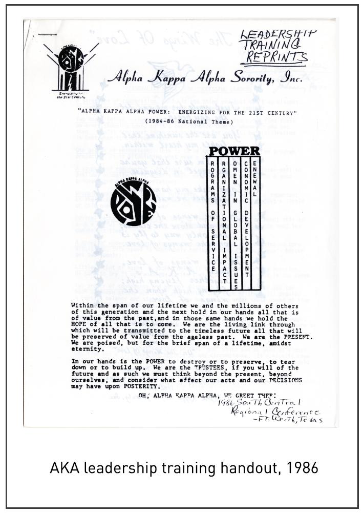 AKA leadership training handout, 1986