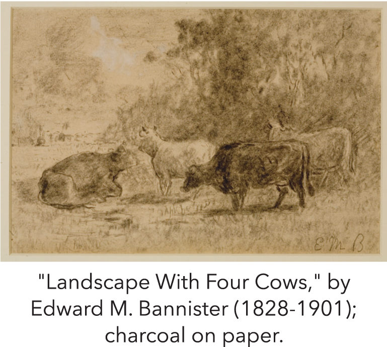 """Landscape With Four Cows,"" by Edward M. Bannister (1828-1901); charcoal on paper."