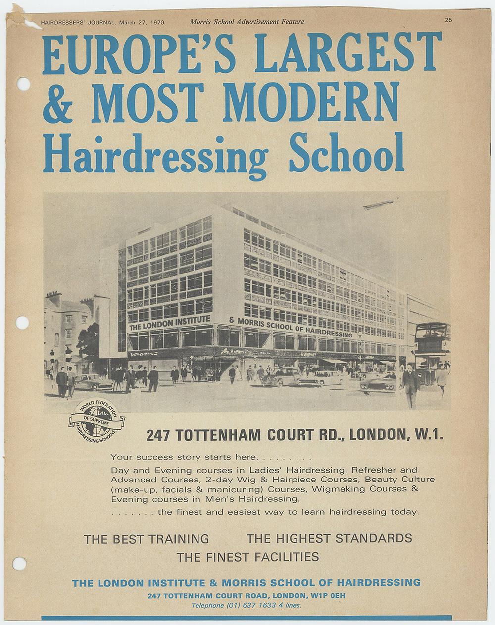 Morris School advertisement feature, 1970.
