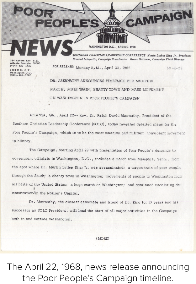 The April 22, 1968, news release announcing the Poor People's Campaign timeline.