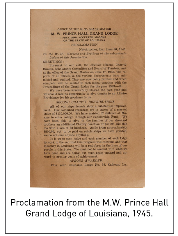 Proclamation from the M.W. Prince Hall Grand Lodge of Louisiana, 1945.