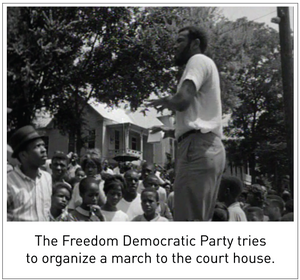The Freedom Democratic Party tries to organize a march to the court house.