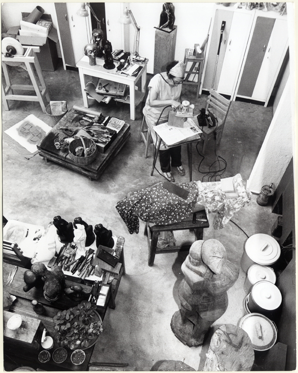 Elizabeth Catlett at work in her studio, circa 1983
