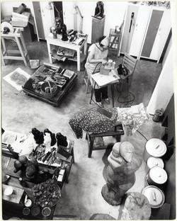 Elizabeth Catlett at work in her studio, circa 1983