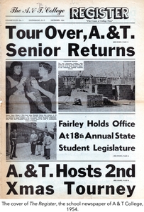 The cover of The Register, the school newspaper of A & T College, 1954.