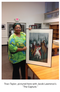 "Traci Taylor, pictured here with Jacob Lawrence's ""The Capture."""