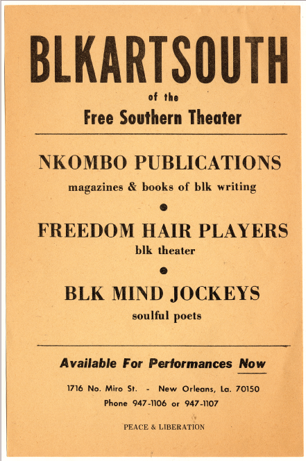 Flyer for the Free Southern Theater's BLKARTSOUTH